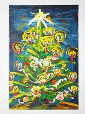 CHRISTMAS TREE PAINTING SEASONS GREETINGS PORTUGAL FOLD CARD