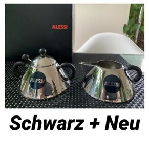 Alessi Milchkännchen SCHWARZ 9096+Zuckerdose 9097 Edelstahl M. Graves Lp: 118.-E