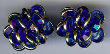 VINTAGE BLUE SWAROVSKI CRYSTALS BURST PIERCED EARRINGS
