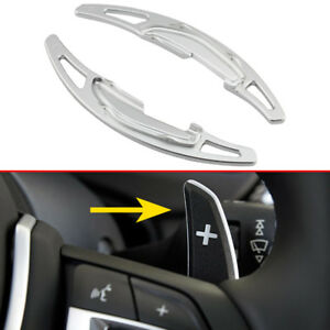 2Pcs Silver Aluminum Alloy Car Steering Wheel Ex Shifter Paddle For BMW M-Power