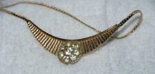 1950's  Round floral rinestone patern on gold Necklace rare