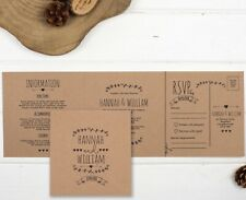 Personalised Wedding Invitation - Brown Kraft Double-Folded