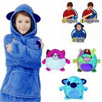 Kids Pajamas Blanket Sweatshirt Hugging Pillow Hoodie Plush Winter Warm Coats