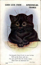 Louis Wain Cat. Good Luck from Kingston on Thames Pull-Out # 1387 by Valentine's