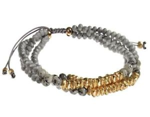 Grey and Gold Crystal Beaded Bracelet