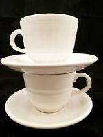 Set of 2 Vintage Fiestaware White Cups and Saucers 4 pc Fiesta