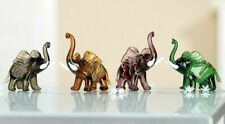 4 Gorgeous Murano Art Glass Multi Coloured Elephant Sculptures with Certificate