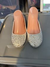 New White Sequined Ballerina Pumps Size 5