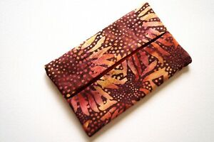 Batik Fabric Travel Size Tissue Holder with Red Sunflower Pattern
