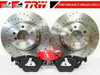 FOR BMW 335i 335d FRONT PERFORMANCE DRILLED BRAKE DISCS TRW DTEC BRAKE PADS 348m