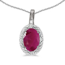 "10k White Gold Oval Ruby And Diamond Pendant with 16"" Chain"