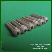 Extra large Guitar Bridge Pins 6.0mm. Birch Hardwood & Black Oak Dot PP053