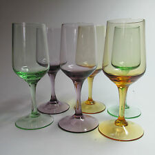6 Fabulous Vintage Kitsch Mid Century Sherry/Desert Wine Glasses 1960s Elegant