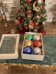 Dollhouse Miniature Artisan Set Of 6 Christmas Ornaments Vintage