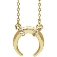 14k Yellow Gold Diamond Crescent Necklace