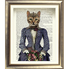 DICTIONARY WALL ART PRINT BOOK PAGE CAT vintage Old  KITTEN CUTE CAT Animal