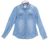 YMI Women's Blue Pearl Snap Button Chambray Long Sleeve Shirt - Size Medium