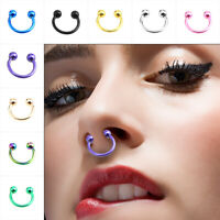 5*Horseshoe Bar Circular Barbell Lip Nose Septum Ear Ring Various Sizes Colour O