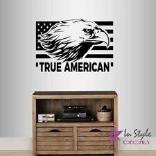 Vinyl Decal True American Bald Eagle Head Bird USA Flag Symbol Wall Sticker 2284