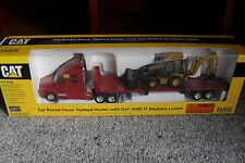 DIE CAST MODEL TRUCK KENWORTH FLATBED HAULER WITH CAT 420D IT BACKHOE LOADER