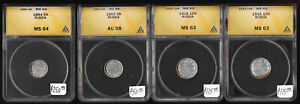 (1884-1916) FOUR RUSSIA 5 & 10 KOPEKS >>ANACS AU58 to MS64<< NICE !! NO RESERVE