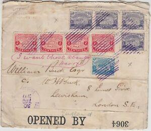 HONDURAS 1917 multi franked CENSOR cover *TEGUCIGALPA-LONDON* stamps missing