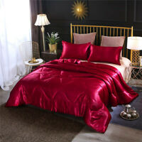 NTBED Luxury Silky Satin Comforter Set Soft Lightweight Microfiber Queen RED