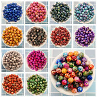 NEW 50PCS 8mm Double Color  Acrylic Round Pearl Loose Beads Jewelry Making U