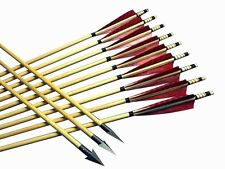 12x Medieval Arrows Wood Shaft Traditional Archery Recurve Bow Longbow Hunting