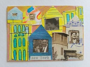 """""""A Different Time Line # 10"""" Original Collage Surrealism Mixed Media Art ACEO"""
