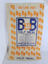 Vtg Cloth Calf Meal Bag 50 Lbs BB Maritime Milling Buffalo NY Cattle Feed Sack