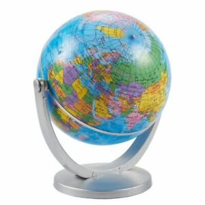 World Globe – 4-inch Globe of The World with Stand, Spinning Rotating Globe