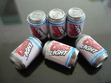 Set of 6 Cans of Beer Cools Light Dollhouse Miniatures Drink Soda