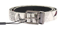 NEW $360 DOLCE & GABBANA Belt White Denim Bird Print Leather Mens 85cm / 34in
