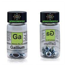 Gallium metal element 31 sample, Ga pellets 99,997% in glass vial with label 5g