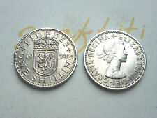 SCARE 1959 SCOTTISH SHILLING KEY DATE LOW MINTAGE IN FINE GRADE COIN HUNT  57th