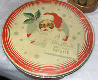 Mrs Stevens Santa Claus Home Made Candies Vintage Christmas Tin! Round 10""