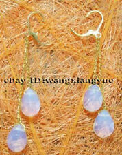 Faceted Sri Lanka Moonstone beads Drop/Dangle Earrings 14K GP Hook AAA