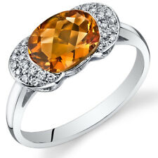 14 Kt White Gold 1.75 cts Citrine and Diamond Ring R61846