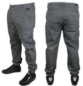 New DML Mens Casual Regular Fit Cargo Combat Cuffed Grey Jeans Trousers Pants