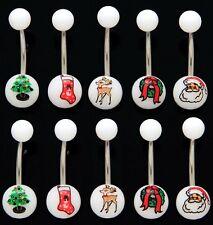 30pcs Christmas Holiday Print UV Acrylic 14g Belly Rings Wholesale Body Jewelry