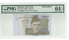 PAKISTAN - Specimen 5 Rupees 2009 Pick# 53bs PMG: 64 EPQ Choice UNC. (#1786)