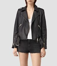 $595 NWT ALL SAINTS WYATT Black Leather Biker Jacket Women's Small UK8 US4 EU36