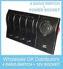 4 GANG LED ROCKER & POWER SOCKET WATERPROOF MARINE/BOAT/RV SWITCH PANEL
