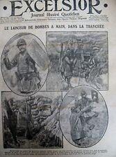 WW1 POILU LANCEUR DE BOMBES A MAIN TRANCHéES MOUNET SULLY EXCELSIOR 3/03/1916