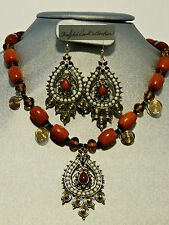 Tibetian Goddess Tribal  Style Crystal and Agate Necklace and Earring Set SALE!!