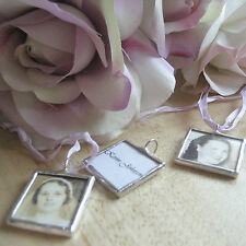Custom glass photo memory pendant wedding bouquet charm memorial personalized