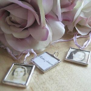 Custom glass photo memory pendant wedding bouquet charm memorial personalized
