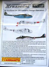 Xtradecal 1/72 X72192 de havilland DH100 vampire in foreign service decal set