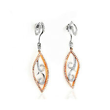 Pendientes 14 K Oro Blanco Amarillo Diamantes 0,76 Quilates Wesselton Nuevo